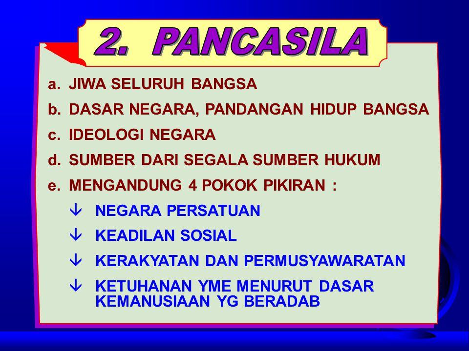 2. PANCASILA a. JIWA SELURUH BANGSA