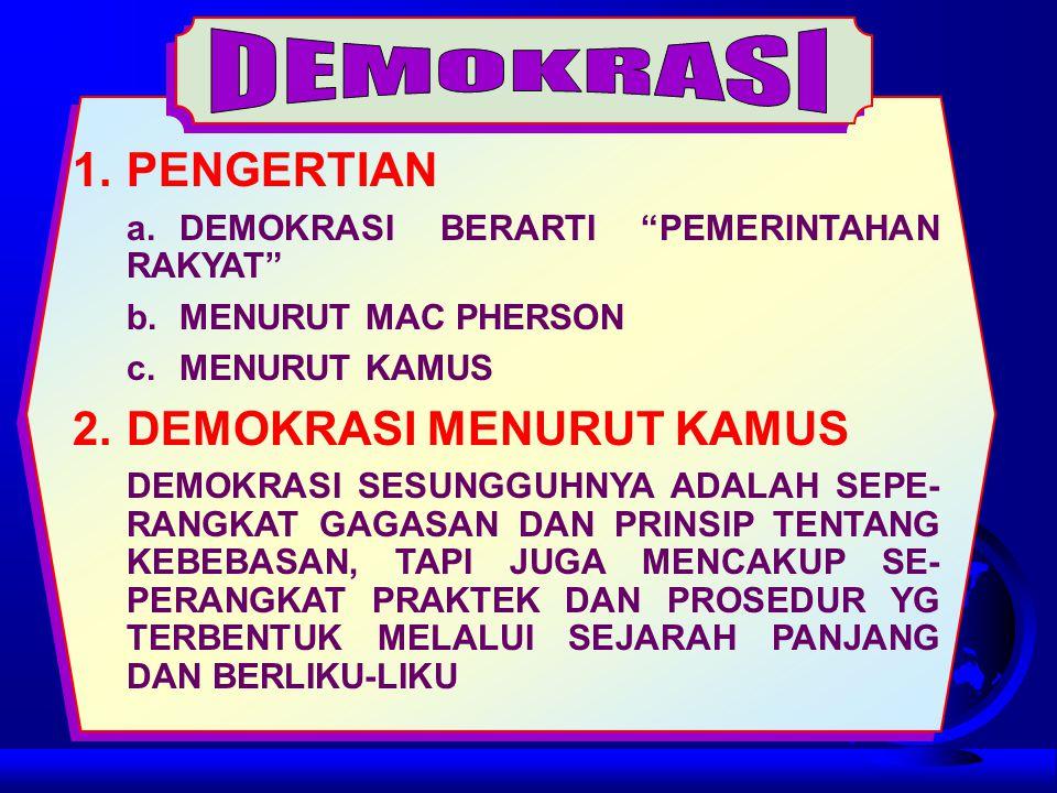 DEMOKRASI 1. PENGERTIAN 2. DEMOKRASI MENURUT KAMUS
