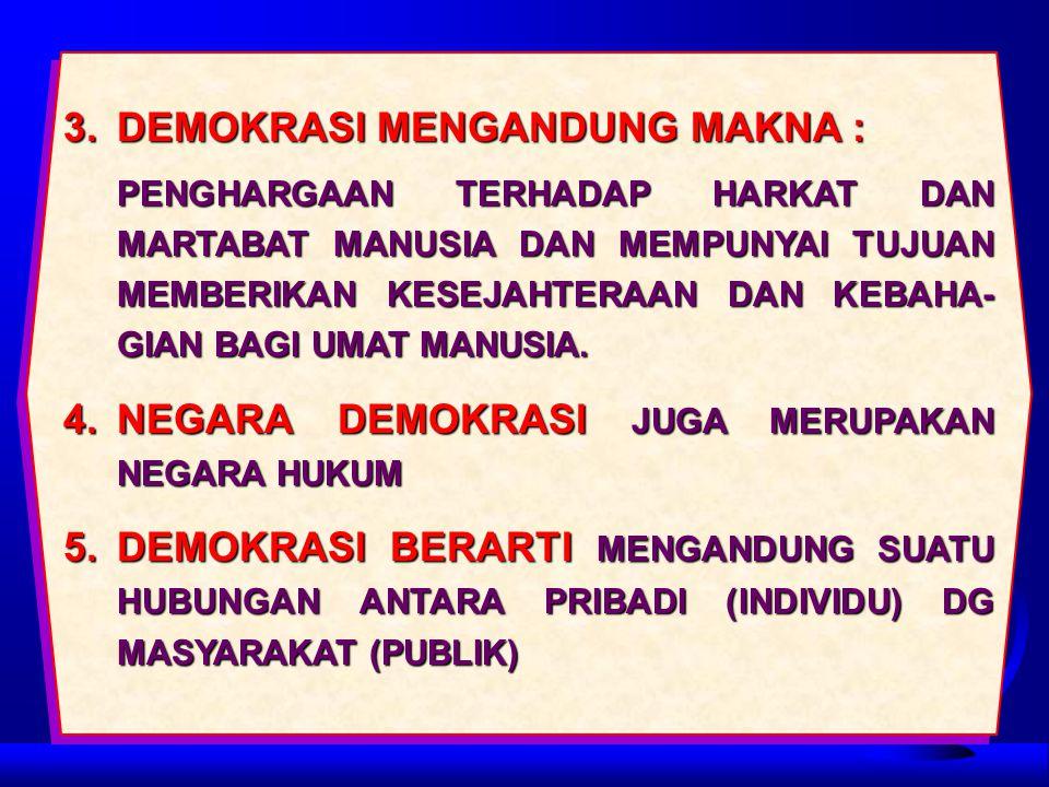 3. DEMOKRASI MENGANDUNG MAKNA :