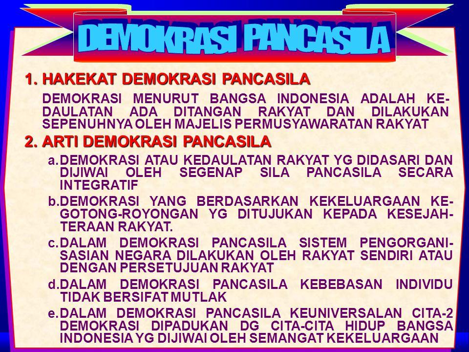 DEMOKRASI PANCASILA 1. HAKEKAT DEMOKRASI PANCASILA
