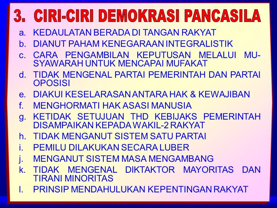 3. CIRI-CIRI DEMOKRASI PANCASILA