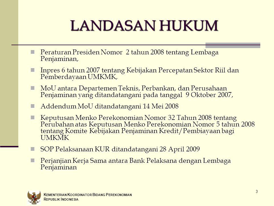 LANDASAN HUKUM Peraturan Presiden Nomor 2 tahun 2008 tentang Lembaga Penjaminan,