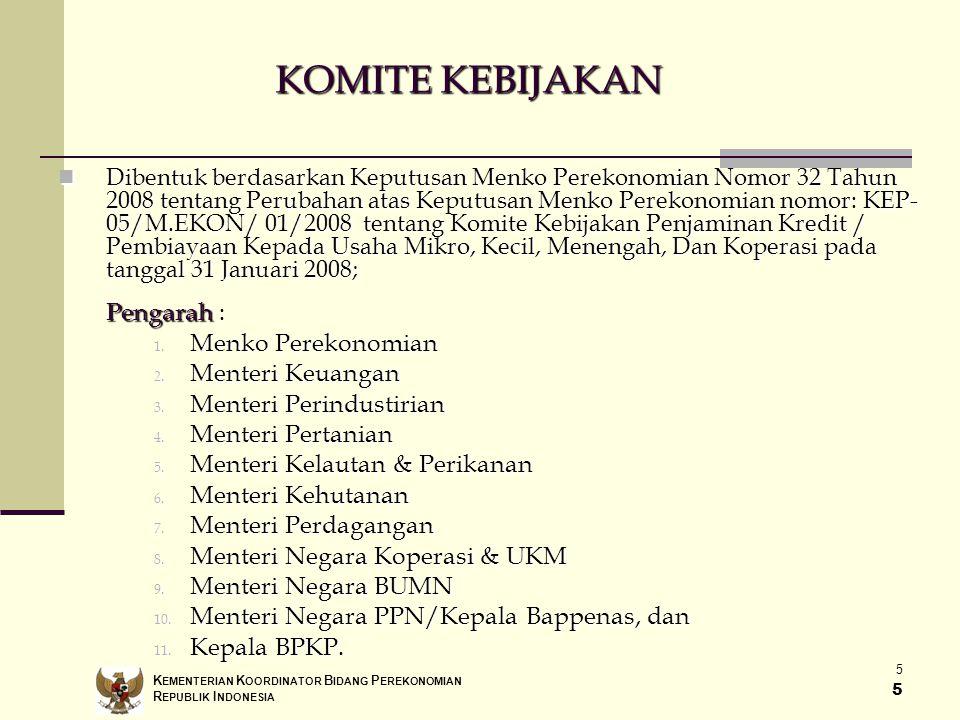 KOMITE KEBIJAKAN Pengarah : Menko Perekonomian Menteri Keuangan