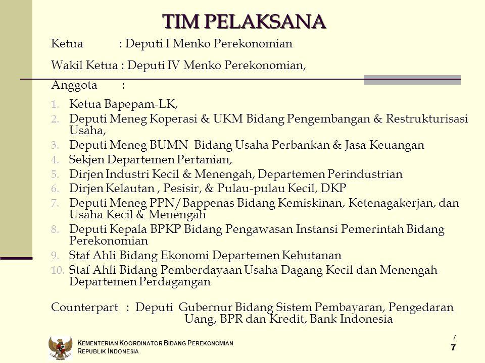 TIM PELAKSANA Ketua : Deputi I Menko Perekonomian