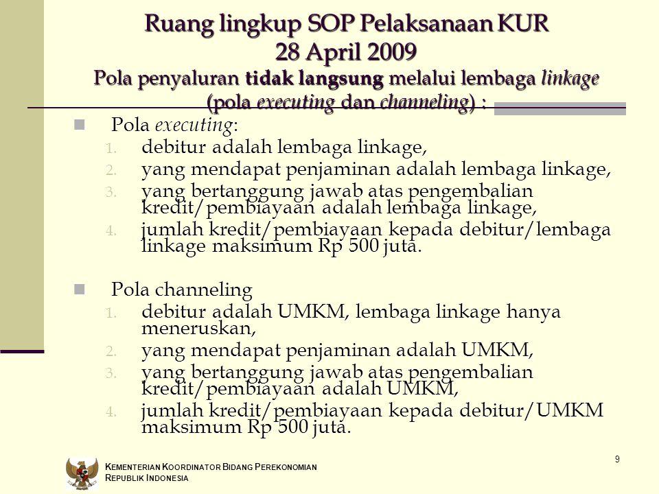 Ruang lingkup SOP Pelaksanaan KUR 28 April 2009 Pola penyaluran tidak langsung melalui lembaga linkage (pola executing dan channeling) :