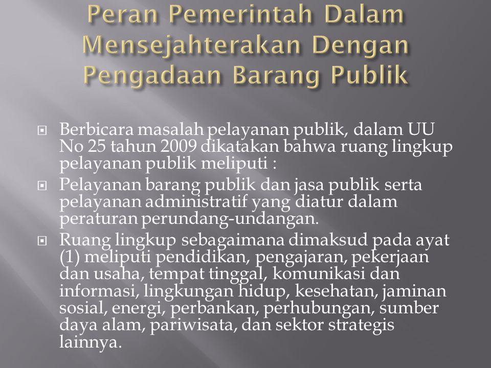 Peran Pemerintah Dalam Mensejahterakan Dengan Pengadaan Barang Publik