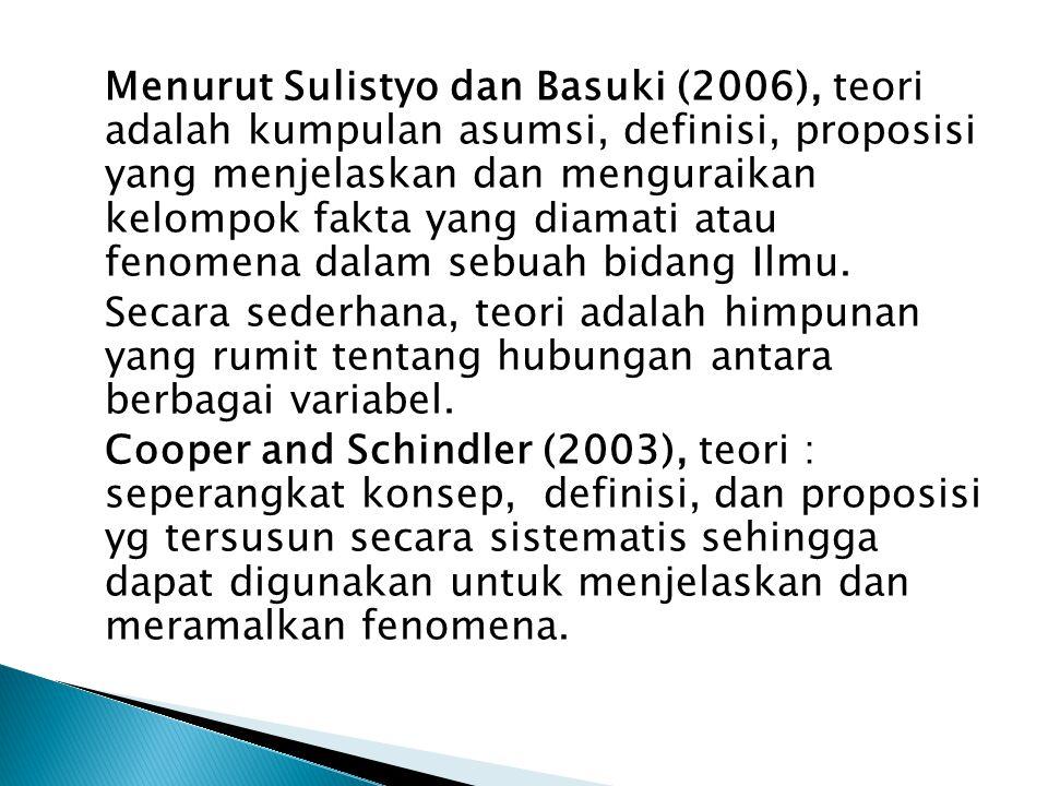 Menurut Sulistyo dan Basuki (2006), teori adalah kumpulan asumsi, definisi, proposisi yang menjelaskan dan menguraikan kelompok fakta yang diamati atau fenomena dalam sebuah bidang Ilmu.