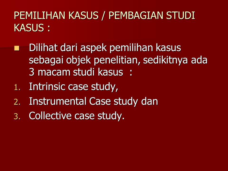 PEMILIHAN KASUS / PEMBAGIAN STUDI KASUS :