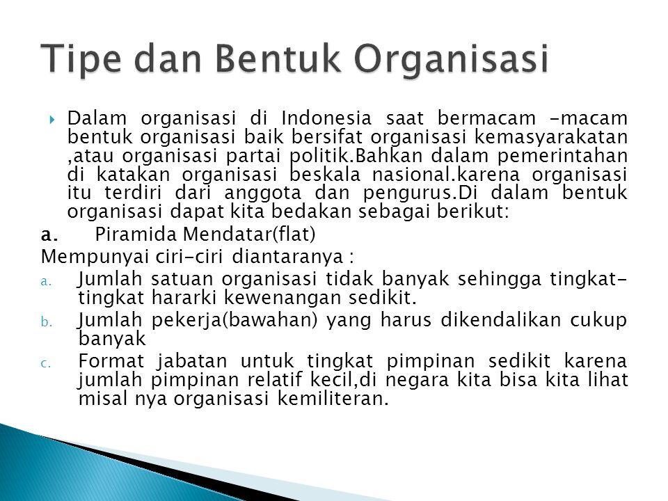 Tipe dan Bentuk Organisasi
