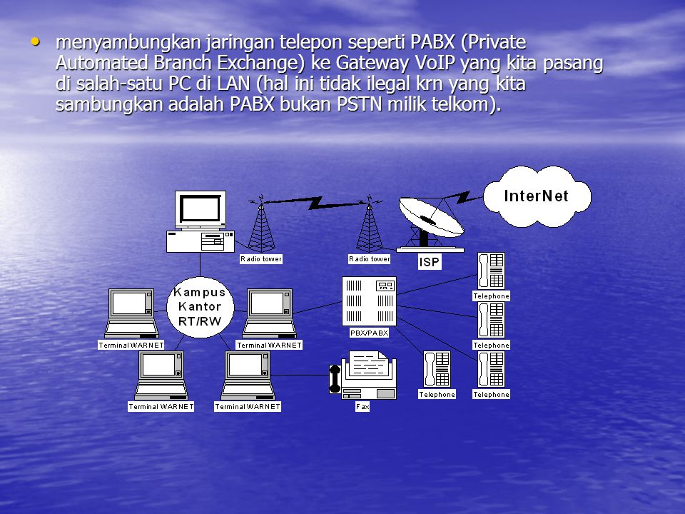 menyambungkan jaringan telepon seperti PABX (Private Automated Branch Exchange) ke Gateway VoIP yang kita pasang di salah-satu PC di LAN (hal ini tidak ilegal krn yang kita sambungkan adalah PABX bukan PSTN milik telkom).