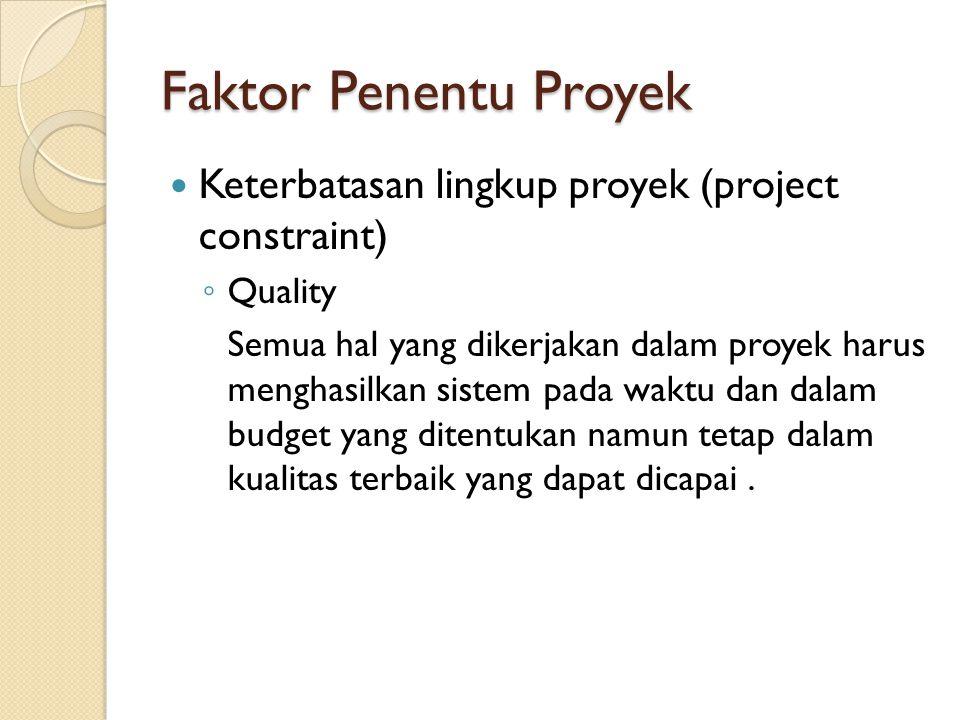 Faktor Penentu Proyek Keterbatasan lingkup proyek (project constraint)