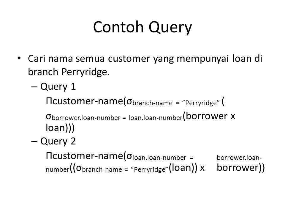 Contoh Query Cari nama semua customer yang mempunyai loan di branch Perryridge. Query 1. Πcustomer-name(σbranch-name = Perryridge (