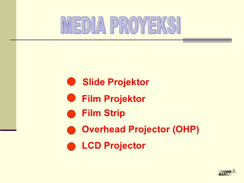 MEDIA PROYEKSI Slide Projektor Film Projektor Film Strip