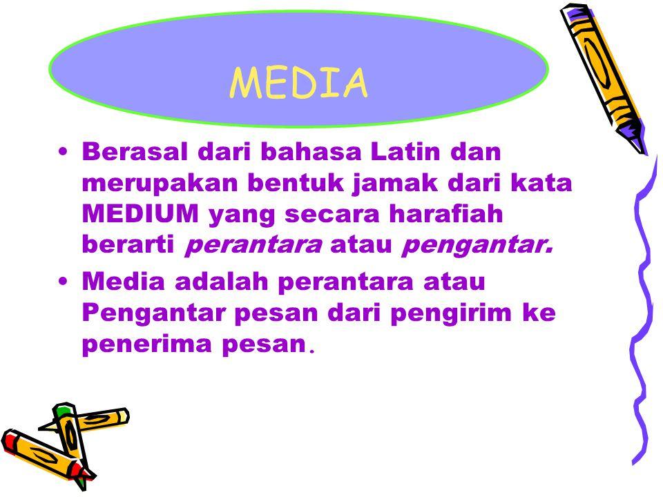 MEDIA Berasal dari bahasa Latin dan merupakan bentuk jamak dari kata MEDIUM yang secara harafiah berarti perantara atau pengantar.