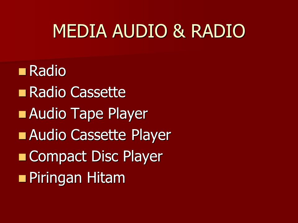 MEDIA AUDIO & RADIO Radio Radio Cassette Audio Tape Player
