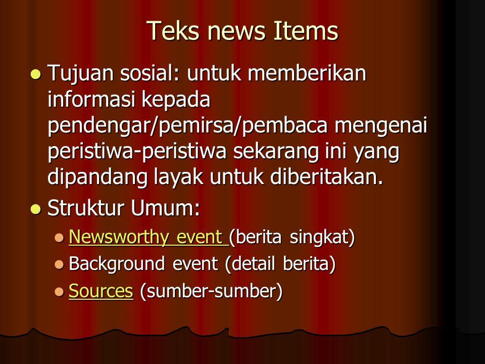Teks news Items