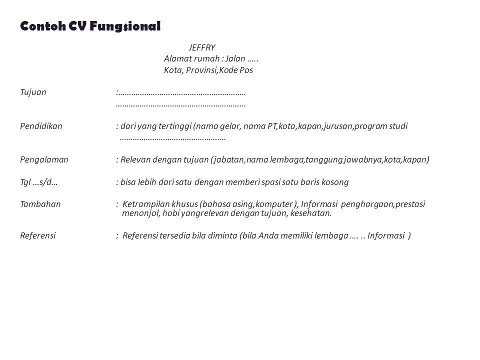 Contoh CV Fungsional
