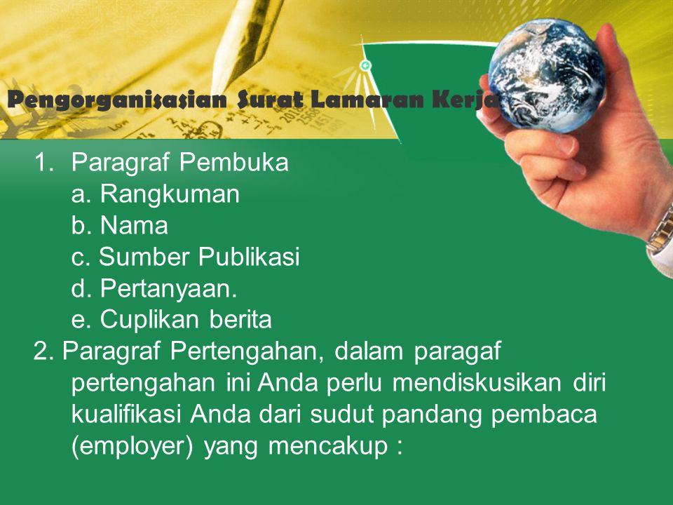 Pengorganisasian Surat Lamaran Kerja