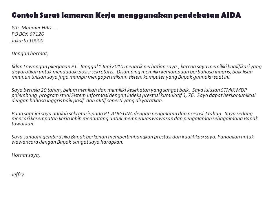 Contoh Surat lamaran Kerja menggunakan pendekatan AIDA