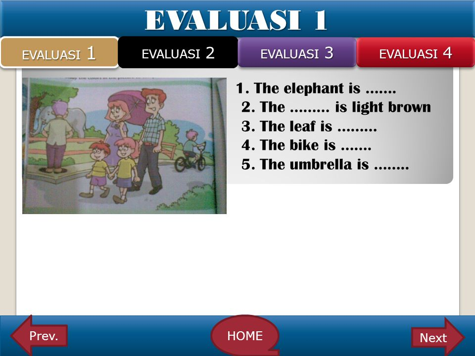 EVALUASI 1 2. The ……… is light brown 3. The leaf is ………