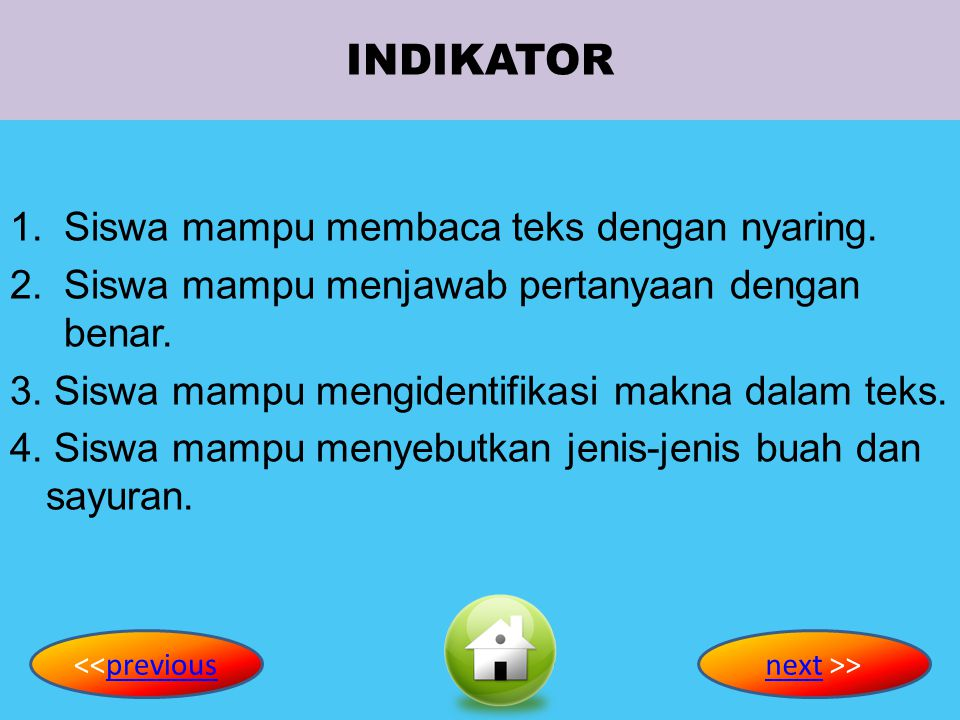 INDIKATOR Siswa mampu membaca teks dengan nyaring.