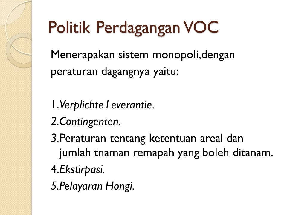 Politik Perdagangan VOC