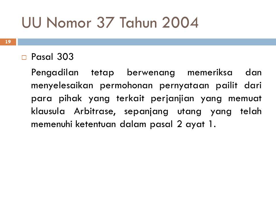 UU Nomor 37 Tahun 2004 Pasal 303.