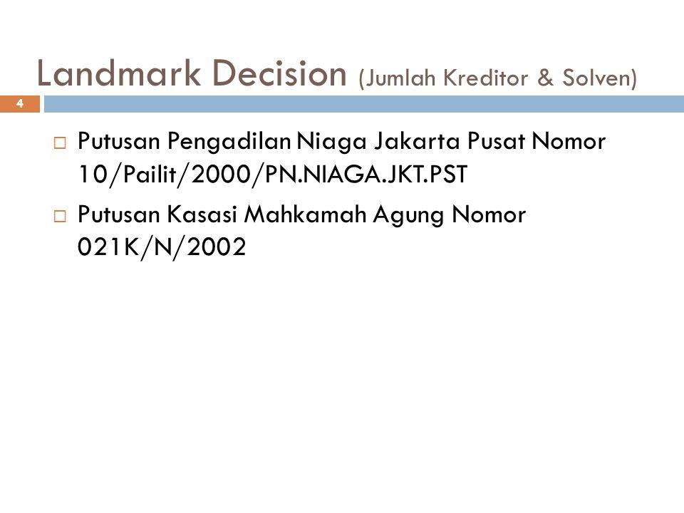 Landmark Decision (Jumlah Kreditor & Solven)