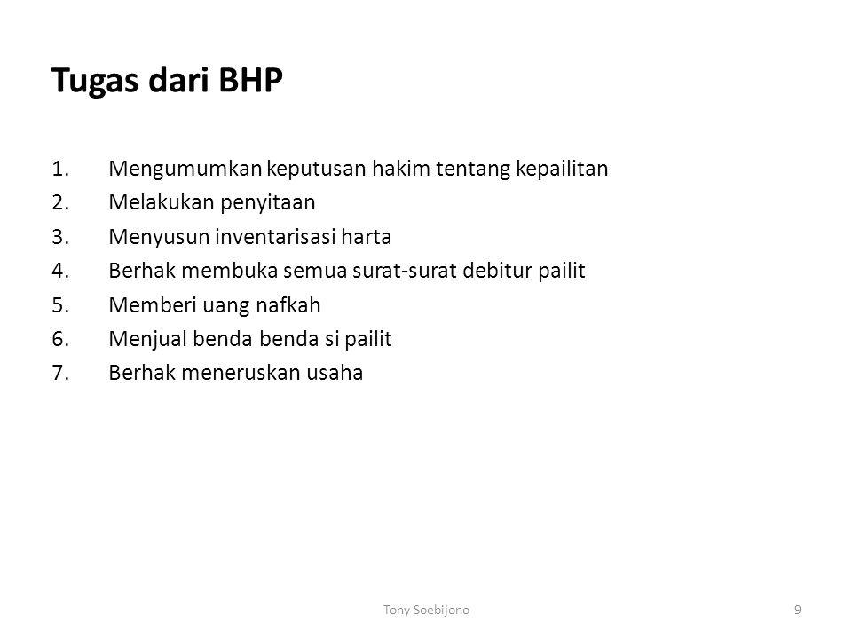 Tugas dari BHP Mengumumkan keputusan hakim tentang kepailitan