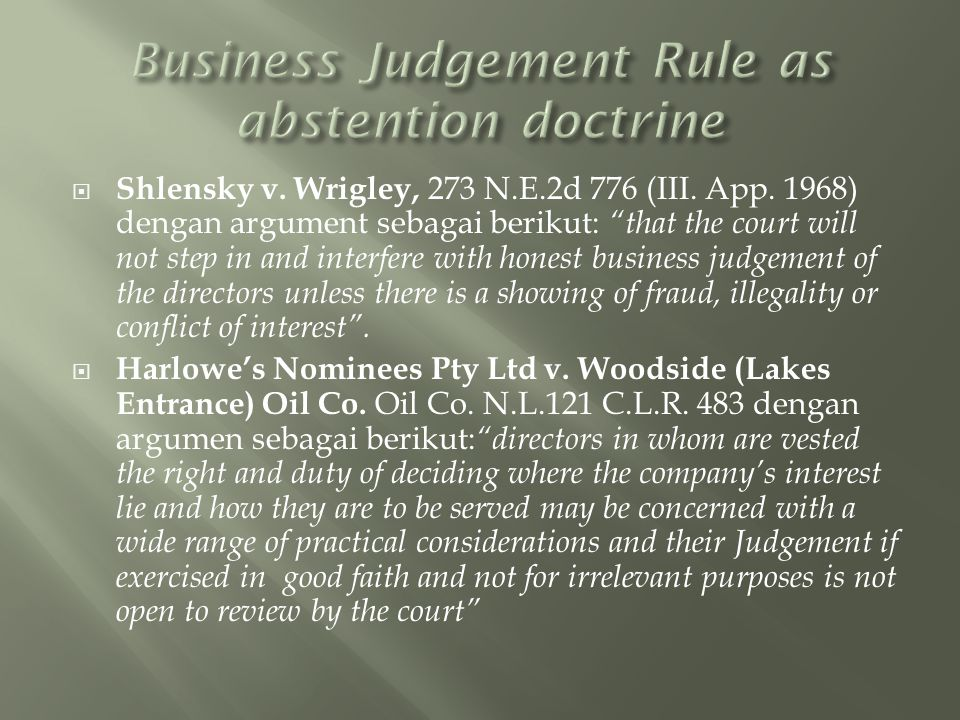 Business Judgement Rule as abstention doctrine