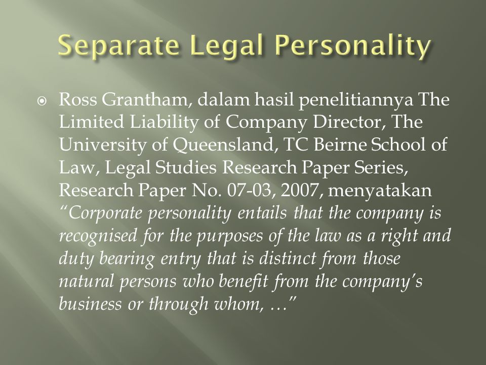 Separate Legal Personality