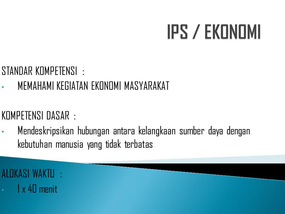 IPS / EKONOMI STANDAR KOMPETENSI :