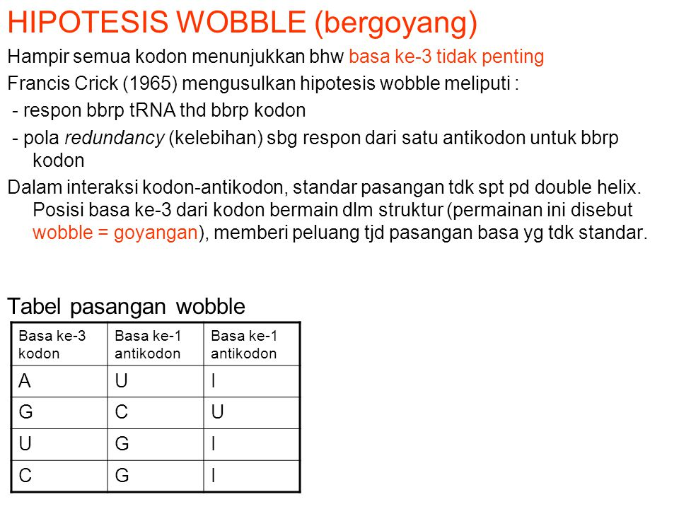 HIPOTESIS WOBBLE (bergoyang)