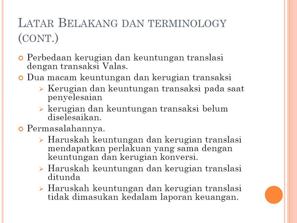 Latar Belakang dan terminology (cont.)