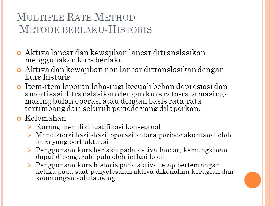 Multiple Rate Method Metode berlaku-Historis