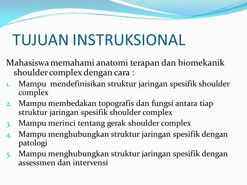 TUJUAN INSTRUKSIONAL Mahasiswa memahami anatomi terapan dan biomekanik shoulder complex dengan cara :