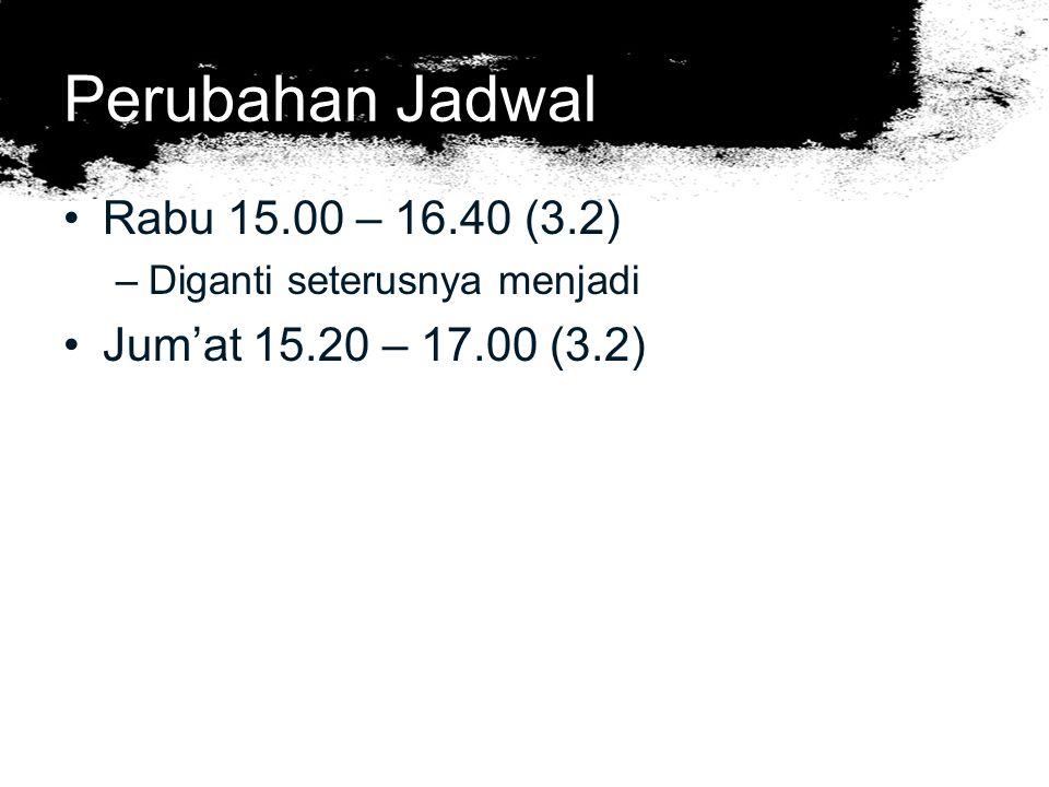 Perubahan Jadwal Rabu 15.00 – 16.40 (3.2) Jum'at 15.20 – 17.00 (3.2)