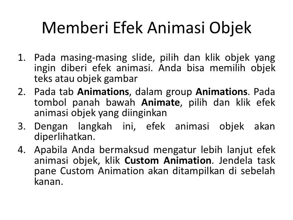 Memberi Efek Animasi Objek