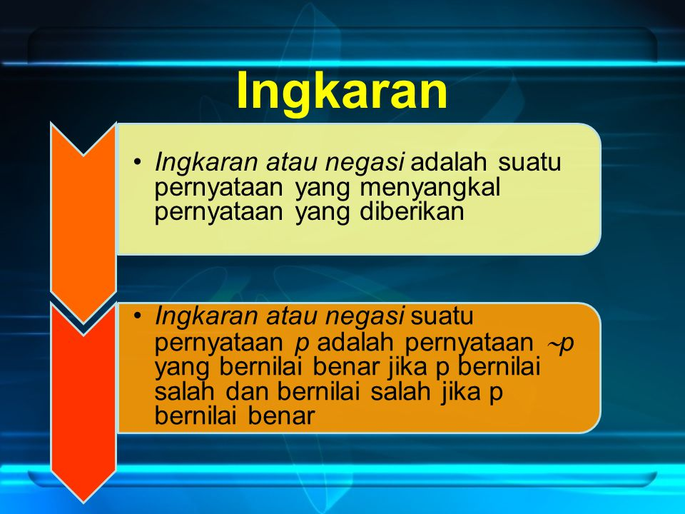 Ingkaran Ingkaran atau negasi adalah suatu pernyataan yang menyangkal pernyataan yang diberikan.