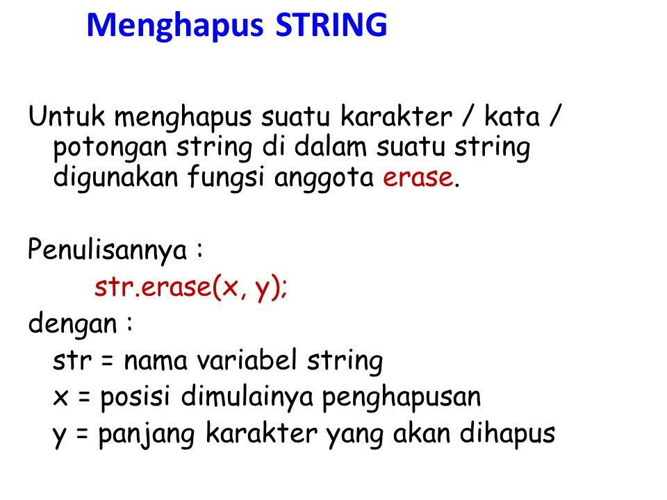 Menghapus STRING