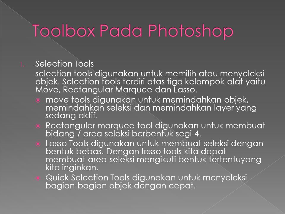 Toolbox Pada Photoshop