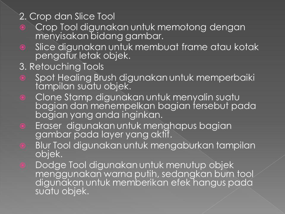 2. Crop dan Slice Tool Crop Tool digunakan untuk memotong dengan menyisakan bidang gambar.