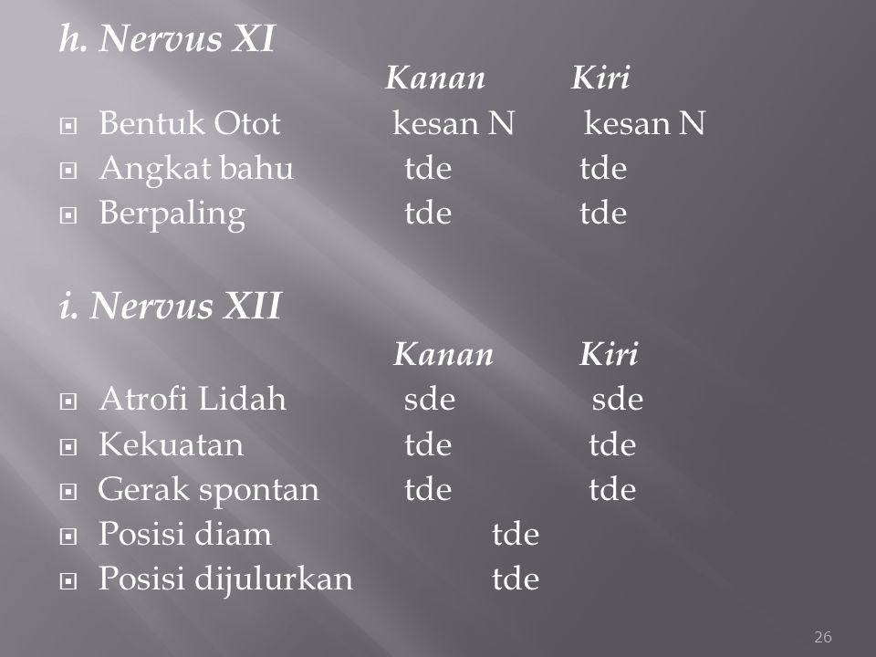 h. Nervus XI Kanan Kiri i. Nervus XII Bentuk Otot kesan N kesan N