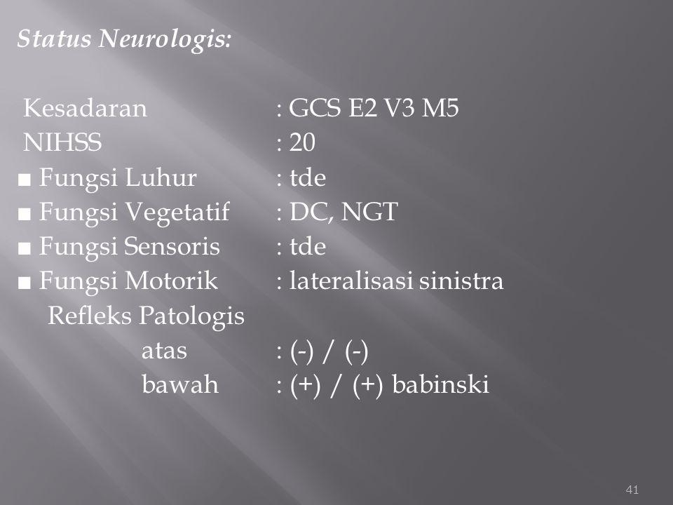 Status Neurologis: Kesadaran : GCS E2 V3 M5 NIHSS : 20 ■ Fungsi Luhur : tde ■ Fungsi Vegetatif : DC, NGT ■ Fungsi Sensoris : tde ■ Fungsi Motorik : lateralisasi sinistra Refleks Patologis atas : (-) / (-) bawah : (+) / (+) babinski