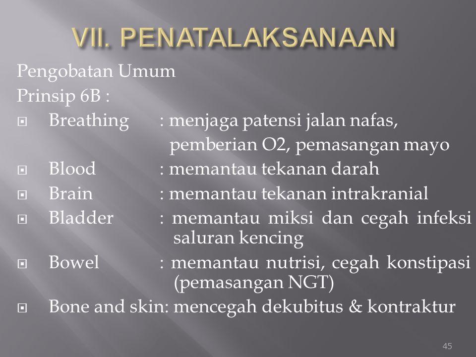 VII. PENATALAKSANAAN Pengobatan Umum Prinsip 6B :
