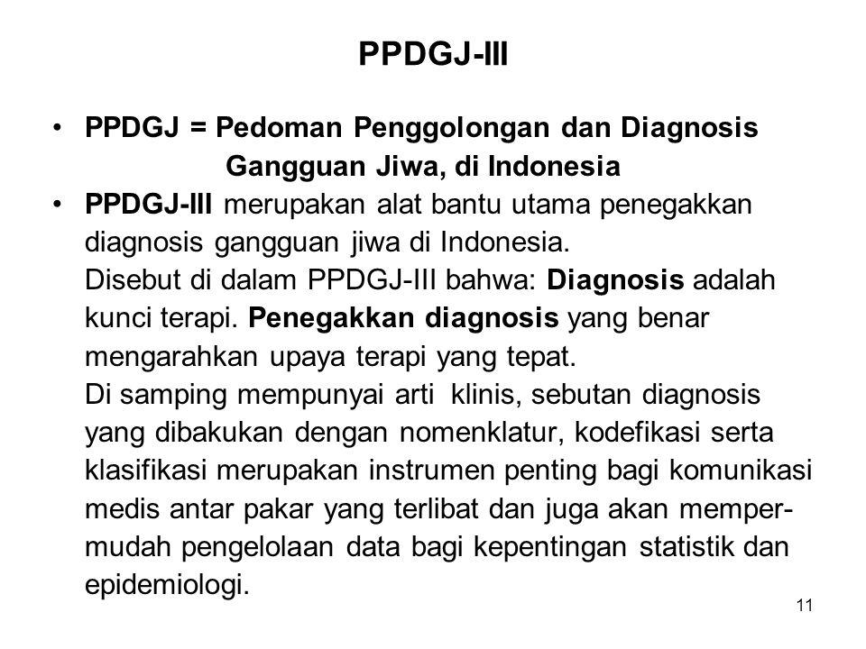 PPDGJ-III PPDGJ = Pedoman Penggolongan dan Diagnosis