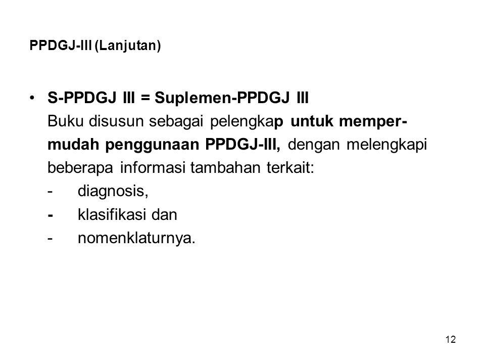 S-PPDGJ III = Suplemen-PPDGJ III