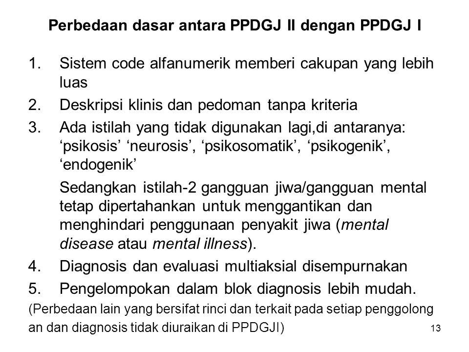 Perbedaan dasar antara PPDGJ II dengan PPDGJ I