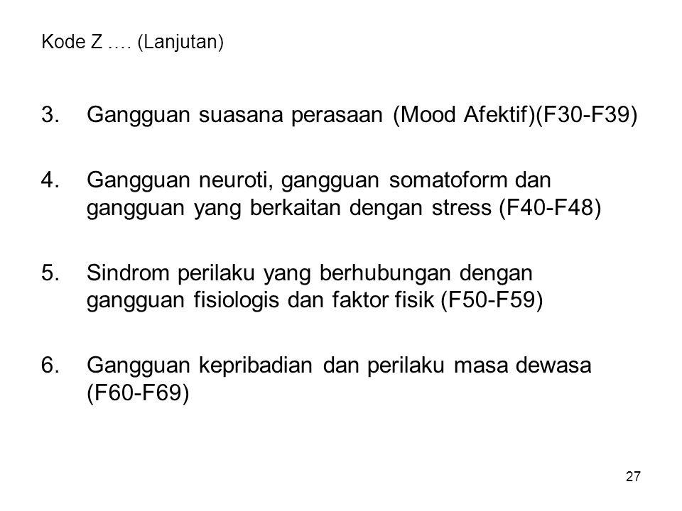 3. Gangguan suasana perasaan (Mood Afektif)(F30-F39)
