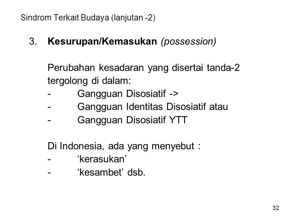 Sindrom Terkait Budaya (lanjutan -2)